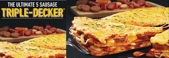 The New 5 Sausages Ultimate Triple Decker Pizza!