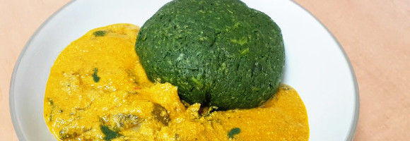 Spinach Fufu and Sunflower Seeds Egusi Soup